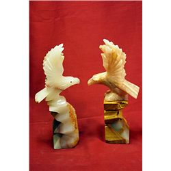 Original Hand Carved Marble  Eagles  by G. Huerta