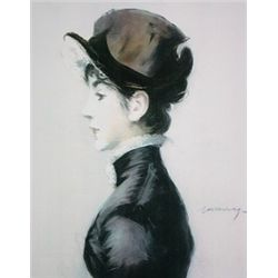 Portrait of Mademoiselle Suzette Lemair in Profile by Edouard Manet  Lithograph