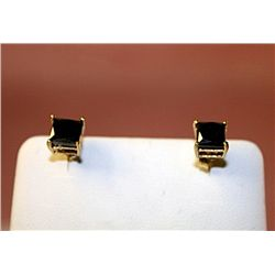Fancy 14 kt Yellow Gold Squared Blk Diamond Earrings