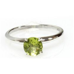 Natural 0.75ctw Peridot Round .925 Sterling Silver Ring