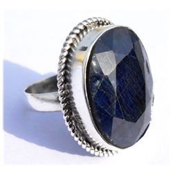 Natural 31.8 ctw Sapphire Oval .925 Sterling Ring