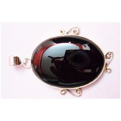 Natural 10.10g Black Onex Oval .925 Sterling Pendant