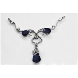 NATURAL 4.00g SAPPHIRE OVAL PENDANT .925 STERLING SILVE