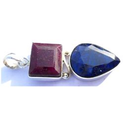 Natural 56.6 ctw Ruby Sapphire .925 Sterling Pendant