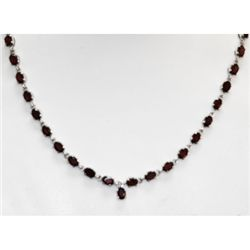 NATURAL 26.00 CTW GARNET NECKLACE .925 STERLING SILVER