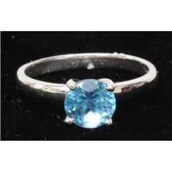 Natural 2ctw Blue Topaz Round .925 Sterling Silver Ring