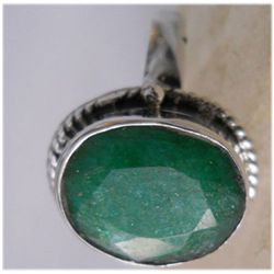 Natural 20.80 ctw Emerald Oval Ring .925 Sterling