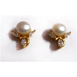 Natural 30.50 ct Pearl Earrings .925 Sterling w/ Bronze