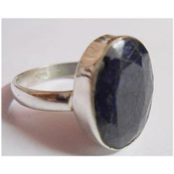 Natural 23.10 Sapphire Oval Ring .925 Sterling Silver