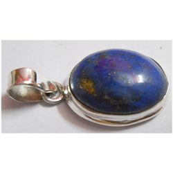 Natural 20.75 ctw Lapis Oval Pendant .925 Sterling