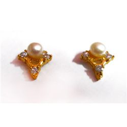 Natural 14.20 ctw Pearl Round Earring .925 Sterling w/