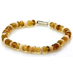 Natural Beer Quarts and Pearl Beads Bracelet with clasp