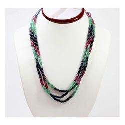 Natural 273.72 ctw  Emerald Ruby Sapphire Bead Necklace