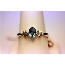 Lady's Fancy 14 Kt Royal Blue Topaz & Diamond Ring