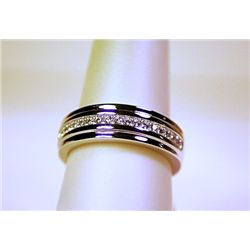 Unisex Fancy Sterling Silver Diamond Band Ring