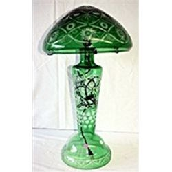 Emerald Diamond Cut Crystal Mushroom Lamp