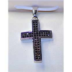 Lady's Fancy Sterling Silver  Cross  Black Diamond Pendant