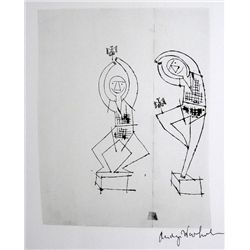 ANDY WARHOL, Signed Print, Two Sprite Figures Dancing