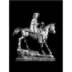 Original Fine Silver Sculpture - Buffalo Hunter by C.M. Russell