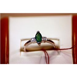 #95 - Fancy Ladys 14K Yellow Gold Columbian Emerald and Diamond Ring