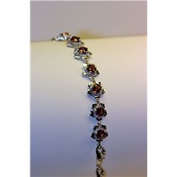 Lady's Beautiful Silver Orange Garnet Bracelet