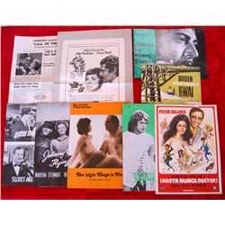 Lot of 10 Vintage Movie Promo Pamphlets/Programs