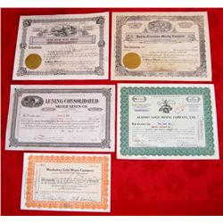 Lot of 5 Nevada Mining Stock Certificates