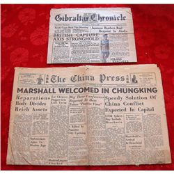 Lot of 2 – 1940's WWII Foreign Newspapers