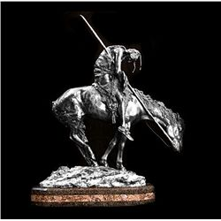 Original Fine Silver Sculpture - End of the Trail by Fraiser