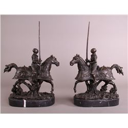 Pair of Bronze Jousters.  Finely detailed with mar etc.