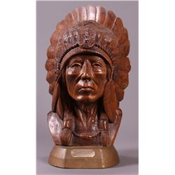 American Indian hand carved wooden bust.  A tribal etc.