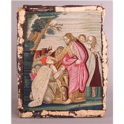 Crewel Silk Picture of Jesus giving blessing.  C.  etc.