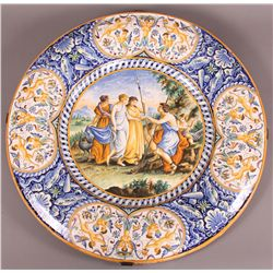 19th Century Majolica Charger with convex edge.  H etc.