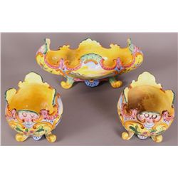 3 Piece Majolica Bowls. Hand painted view of the b etc.