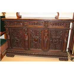 Tuscan Baroque Walnut Credenza with 3 drawers, 3 d etc.