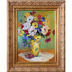 Jean Lackey (20th Century). Vase with Flowers.