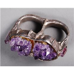 Handmade Amethyst Double Ring Sterling Silver ring etc.