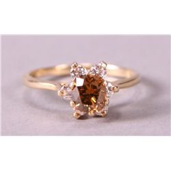 Cognac Diamond Ring in 14k Yellow Gold.  Ladies Ri etc.