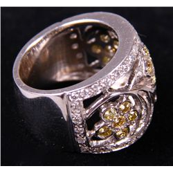 18k White Gold Ring 16.6 grams.  Wide band diamond etc.