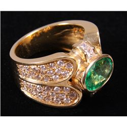 18k Yellow, Diamond and Emerald Ring.  Mounting we etc.