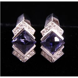 18k White Gold Tanzanite and Diamond earrings.  (S etc.