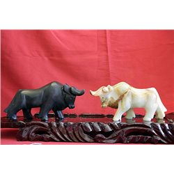 Original Hand Carved Marble  Bulls  by G. Huerta