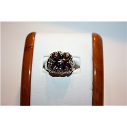 Unisex Very Fancy 14 kt White Gold Brown Lapist Ring