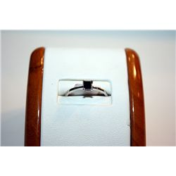 Lady's Fancy 14 kt White Gold Band & Black Diamond Ring
