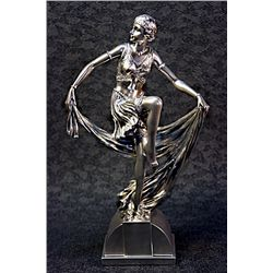 Real Silver Art Deco Chiparus Sculpture - Jazz Dancer