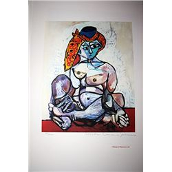 Limited Edition Picasso - Nude Lady With Scarf Over Hat - Collection Domaine Picasso