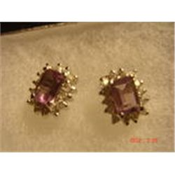 "VTG STERLING SILVER  1/4"" AMETHYST POST EARRINGS"