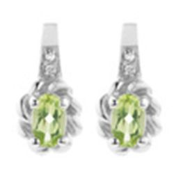 Diamond and Peridot Earrings in Sterling Silver  New Comes with Gold Jewelry Bag  Item nmr101