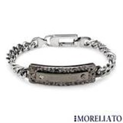 "Man's Bracelet With Genuine Diamond Accent  8.5""  41g"