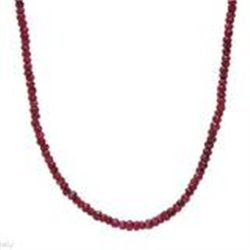 "70 ctw Ruby Necklace in 925 Sterling Silver  15.0g  18"" Length. NEW WITH GIFT BOX"